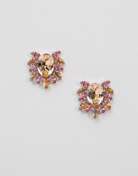 Серьги с кристаллами Swarovski Krystal - Персиковый микс