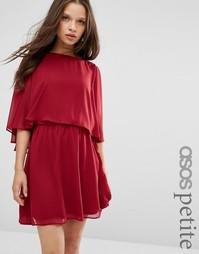 Короткое приталенное платье с кроп-топом ASOS PETITE - Темно-бордовый