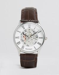 Часы с коричневым кожаным ремешком и открытым механизмом Sekonda экскл