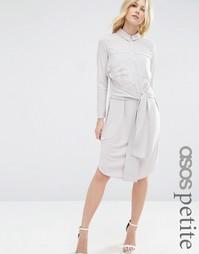 Платье-рубашка миди с завязкой спереди ASOS PETITE - Серебряный