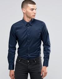 Эластичная рубашка узкого кроя Sisley - Темно-синий 275