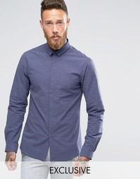 Зауженная рубашка в горошек с небольшим воротничком Noak - Темно-синий