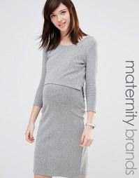 Платье в рубчик для кормящих мам Mamalicious - Серый Mama.Licious