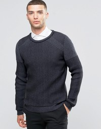 Джемпер в рубчик с контрастными вставками Sisley - Серый 901