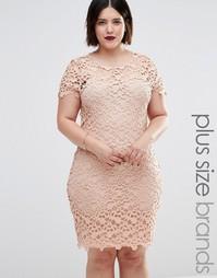 Платье миди с отделкой кроше Club L Plus - Телесный
