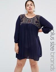Платье с вышивкой Diya Plus - Темно-синий
