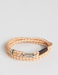 Светло-коричневый кожаный браслет в несколько оборотов Paul Smith
