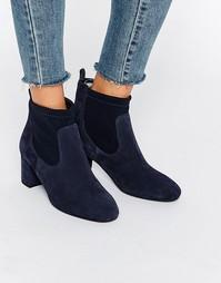 Темно-синие замшевые сапоги на каблуке Faith Briony