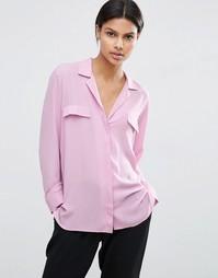 Однотонная блузка в пижамном стиле ASOS - Пыльно-розовый