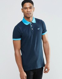 Темно-синяя футболка-поло с контрастным воротником Hollister