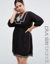Платье с вышивкой Diya Plus - Черный