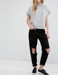 Рваные джинсы бойфренда Waven Aki - Классический черный