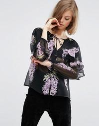 Блузка с цветочным принтом, кейпом и завязкой ASOS - Мульти