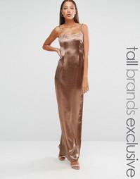Шелковистое платье макси эксклюзивно для Missguided Tall - Bronze