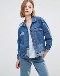 Джинсовая куртка бойфренда в стиле пэтчворк Waven Karin