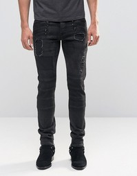 Pваные зауженные джинсы в байкерском стиле ASOS - Черный