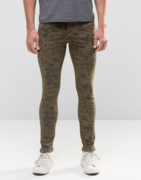Супероблегающие джинсы с камуфляжным принтом ASOS - Хаки