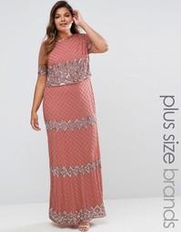 Двухслойное платье макси с отделкой Lovedrobe Luxe - Розовый