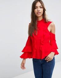 Блузка с оборкой ASOS - Красный