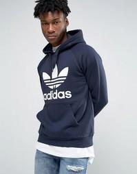 Худи с логотипом-трилистником adidas Originals S95512 - Синий
