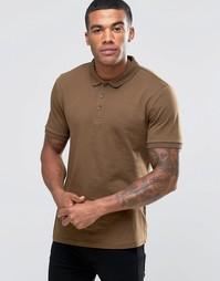 Коричневая трикотажная футболка‑поло ASOS - Balsam
