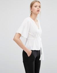 Блузка с запахом спереди ASOS - Слоновая кость