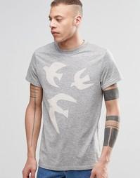 Меланжевая футболка с принтом Weekday Roc Doves - Светло-серый меланж