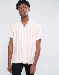 Розово-белая классическая рубашка в полоску с отложным воротником ASOS