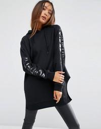 Длинное oversize-худи с принтом на рукавах ASOS - Черный