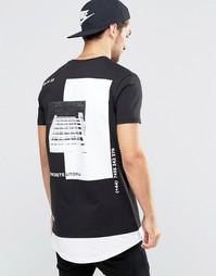 Длинная футболка с принтом сзади и контрастной кромкой ASOS - Черный