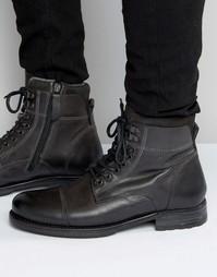 Серые кожаные ботинки на шнуровке Aldo Giannola - Серый