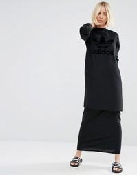 Двухслойное платье макси с однотонным логотипом-трилистником Adidas Or