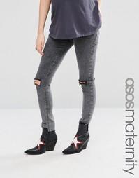 Черные рваные джинсы скинни для беременных ASOS Maternity