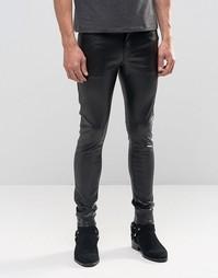 Ультразауженные черные джинсы скинни из искусственной кожи ASOS