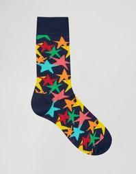 Носки со звездами Happy Socks - Синий