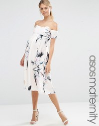 Платье миди для беременных со спущенными плечами и цветочным принтом A Asos Maternity