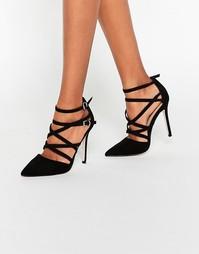 Остроносые туфли на высоком каблуке с решеткой из ремешков ASOS PLAYHO