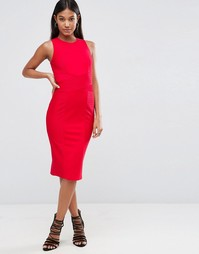 Облегающее бандажное платье миди с высоким воротом ASOS - Красный