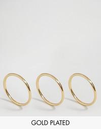 Набор из 3 позолоченных колец Pilgrim - С золотым покрытием