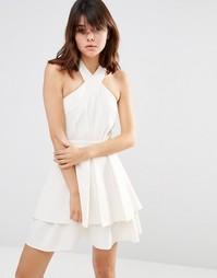 Плиссированное платье мини J.O.A - Хаки светлый