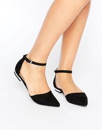 Остроносые туфли на плоской подошве Boohoo - Черный