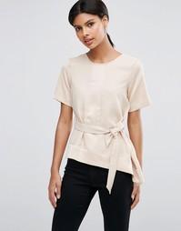 Асимметричная футболка с матовой и блестящей отделкой и поясом ASOS