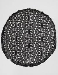 Монохромное круглое пляжное покрывало с ацтекским принтом ASOS