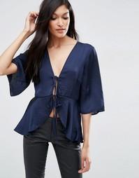 Атласная драпированная блузка с завязкой ASOS - Темно-синий