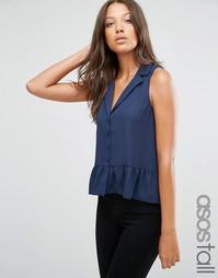 Блузка без рукавов с оборкой по краю ASOS TALL - Темно-синий