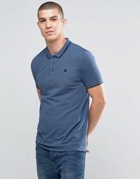 Синяя футболка‑поло из ткани пике с логотипом и контрастной отделкой A Asos