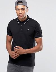 Черная футболка‑поло из ткани пике с контрастной отделкой и логотипом Asos