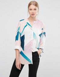 Блузка без воротника с абстрактным принтом ASOS - Мульти