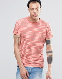 Полосатая футболка с карманом на груди Threadbare - Оранжевый
