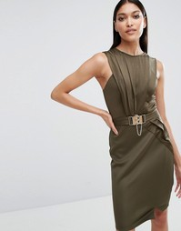 Платье с запахом и поясом Michelle Keegan Loves Lipsy - Хаки